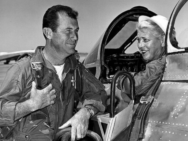 Jacky Cochran in F-86 Cockpit with Chuck Yeager