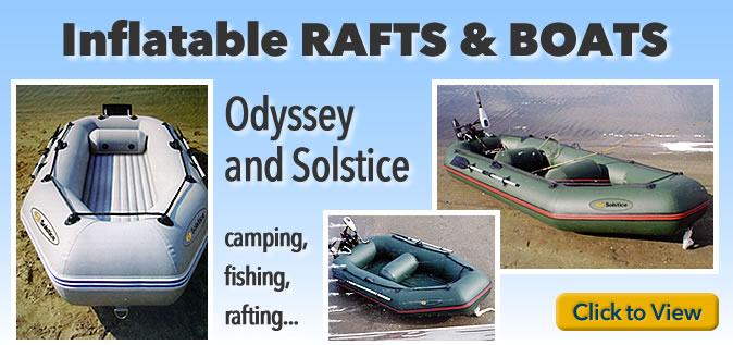 Inflatable rafts and boats for fishing, camping, rafting...