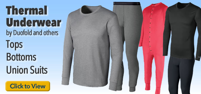 Thermal underwear, long johns, and union suits