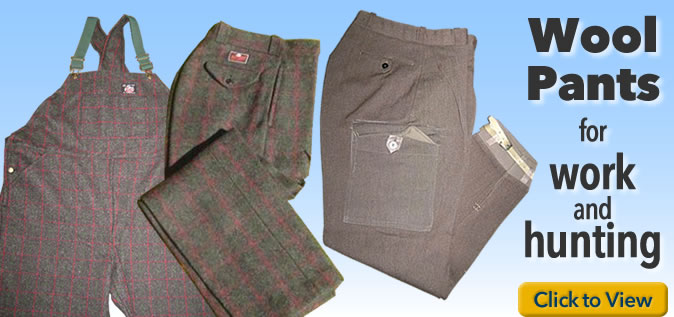 Wool pants, trousers, knickers, and overalls